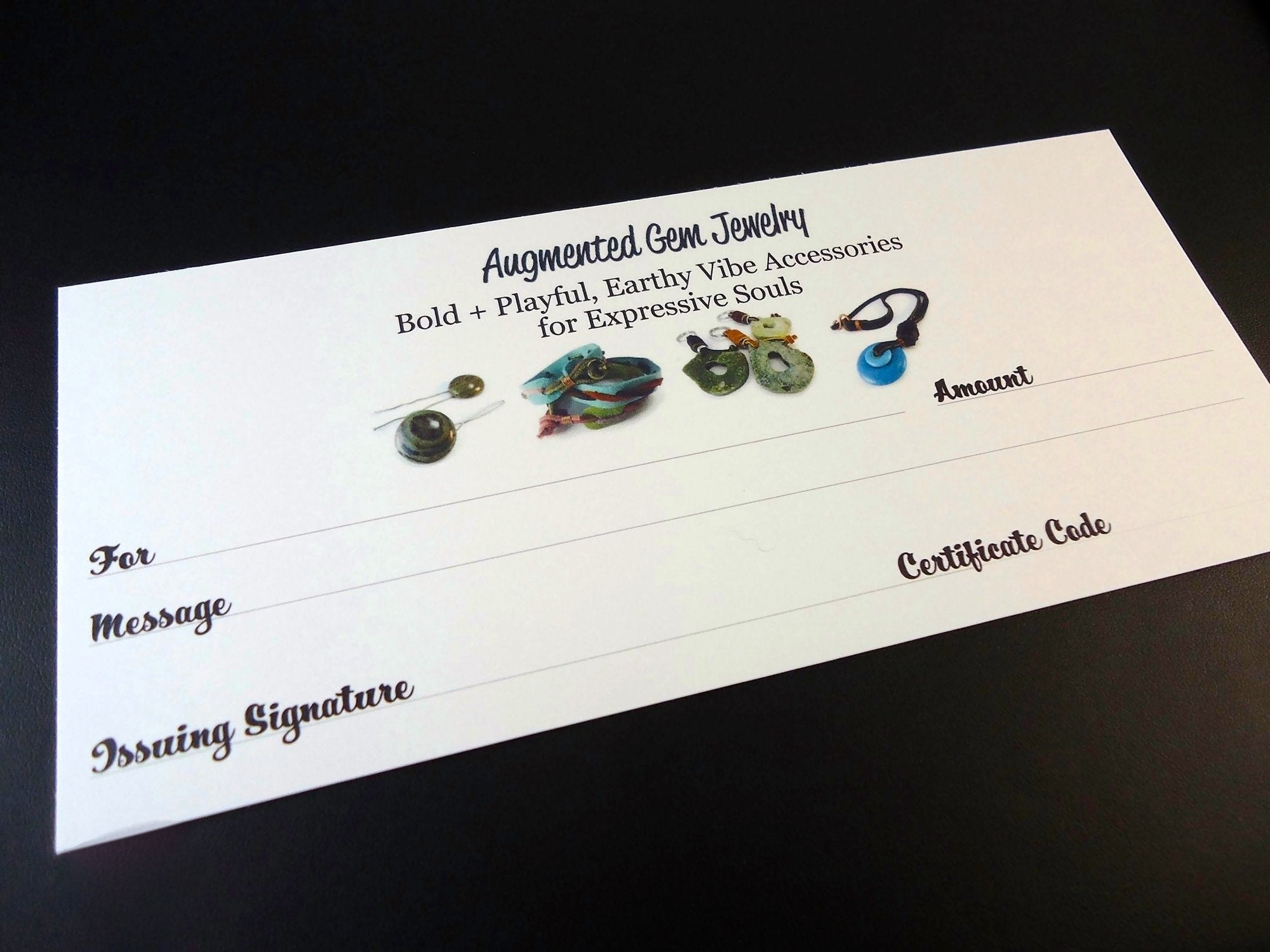 Electronic Gift Certificates - Augmented Gem Jewelry