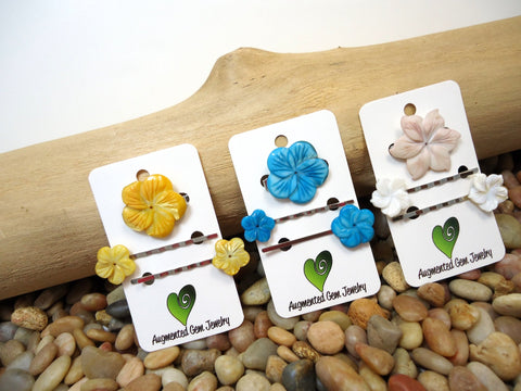 Flower Hair Pins and Clip Set - Augmented Gem Jewelry