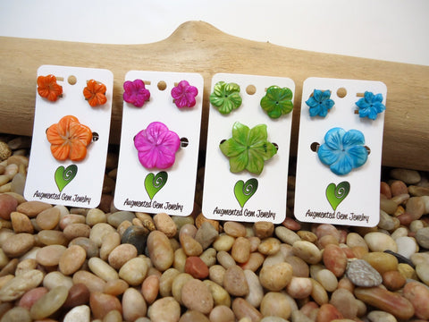 Flower Stud Earrings + Barrette - Augmented Gem Jewelry