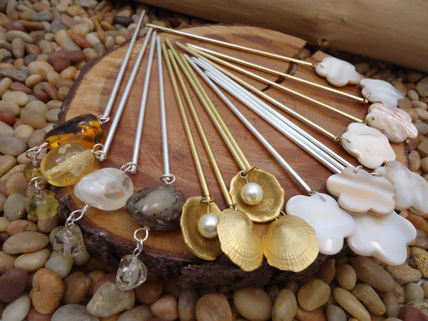 Gold Shell Hair Stick Pearl - Augmented Gem Jewelry
