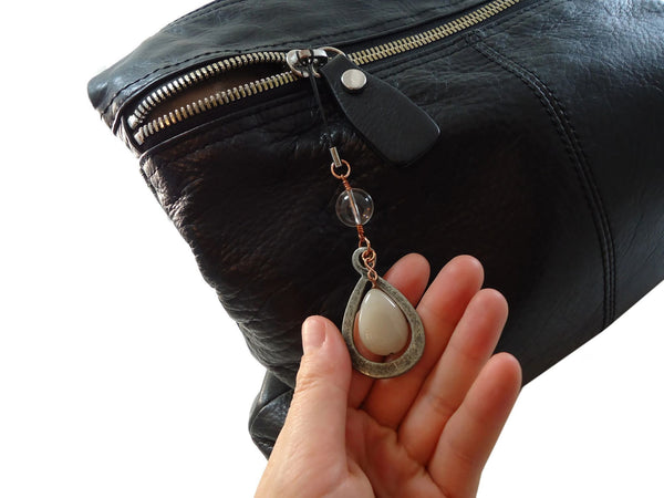 Gunmetal Bag Charms Peach - Augmented Gem Jewelry