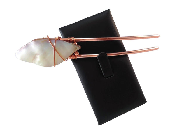 Mother of Pearl Hair Fork Copper - Augmented Gem Jewelry