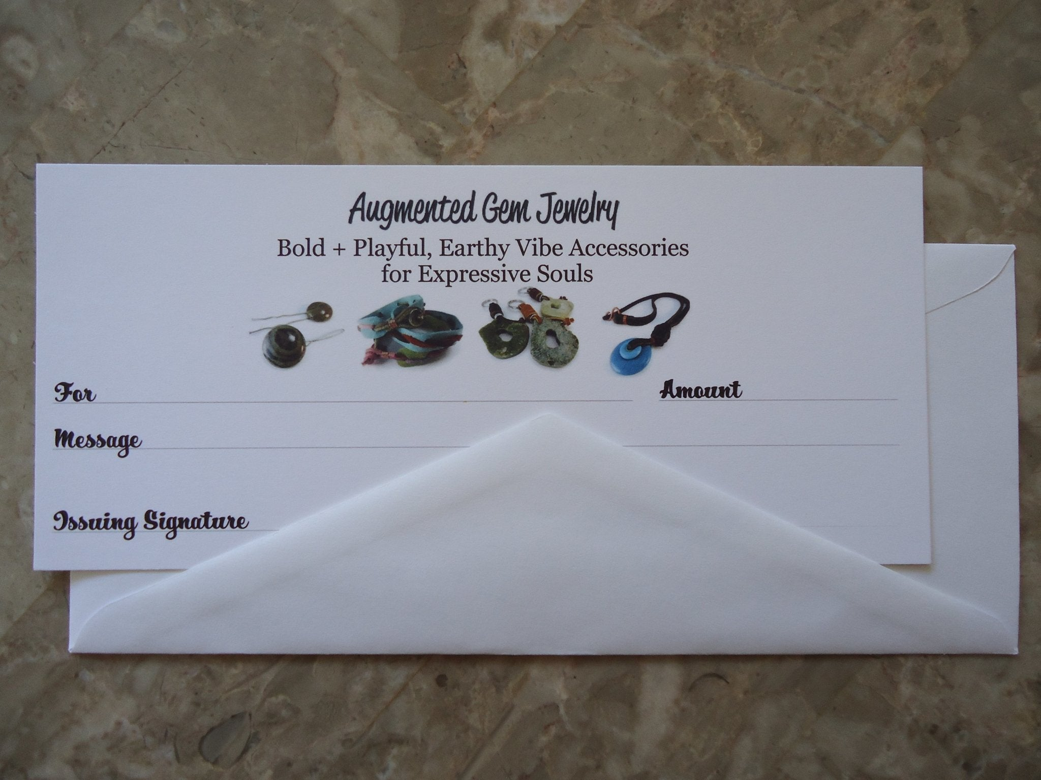 Paper Gift Certificates - Augmented Gem Jewelry