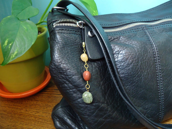Pebble Bag Charms Gold Tone - Augmented Gem Jewelry