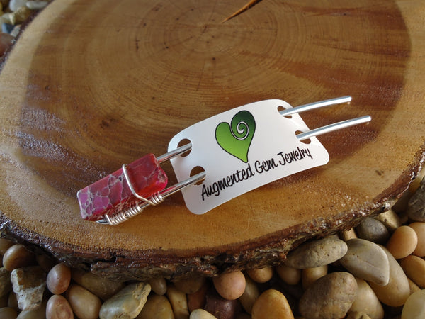 Pink Jasper Hair Pin for Buns - Augmented Gem Jewelry