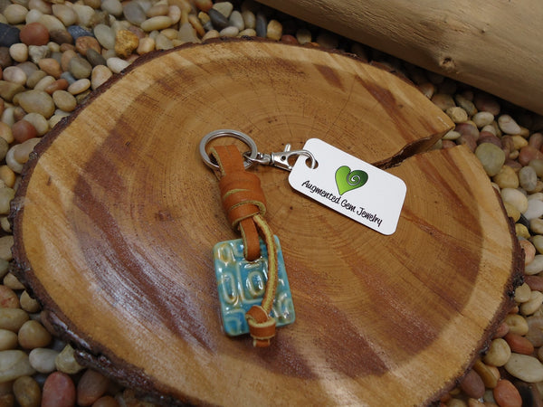 Porcelain Textured Keyring - Augmented Gem Jewelry