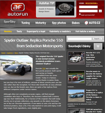 AutoFun - June 2016 - The original Porsche 550 Spyder is now normal mortals absolutely prohibitive issues. Solution? Replica! - Seduction Motorsports