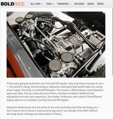BOLDRIDE & YAHOO NEWS FEATURE - April 2015 - Perfect 550 Spyder For You