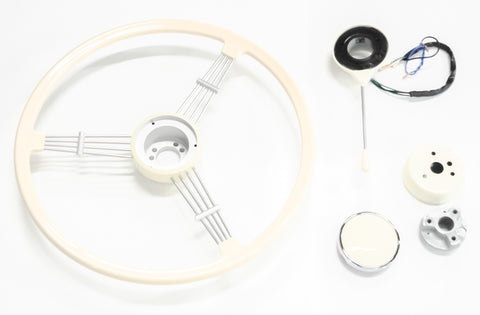 Banjo Steering Wheel - Hub Adapter - Turn Signal Switch - Horn Button - Install Kit Combo - Ivory
