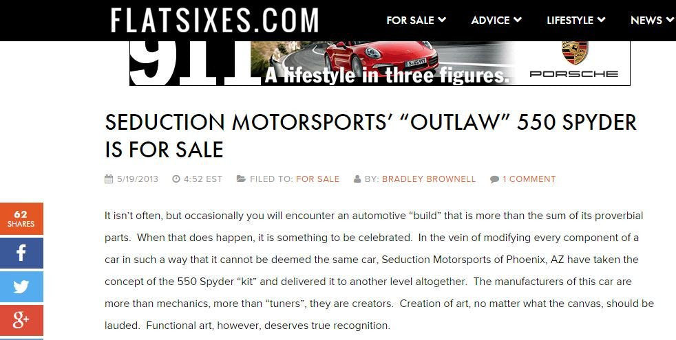 FlatSixes - May 2013 - Outlaw 550 Spyder For Sale - Seduction Motorsports