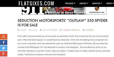 FlatSixes - May 2013 - Outlaw 550 Spyder For Sale