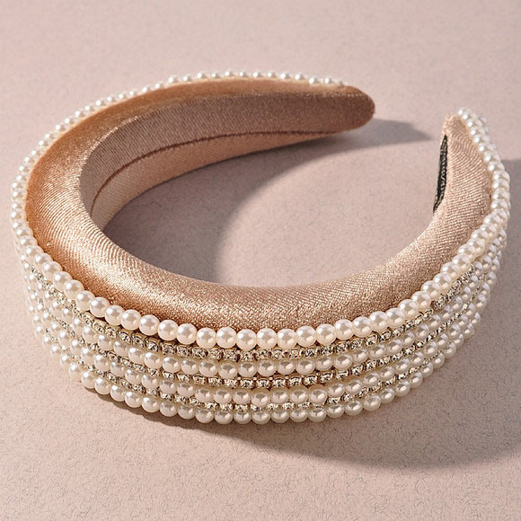 Beige Jeweled Headband