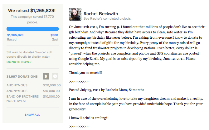 Rachel Beckwith's campaign page