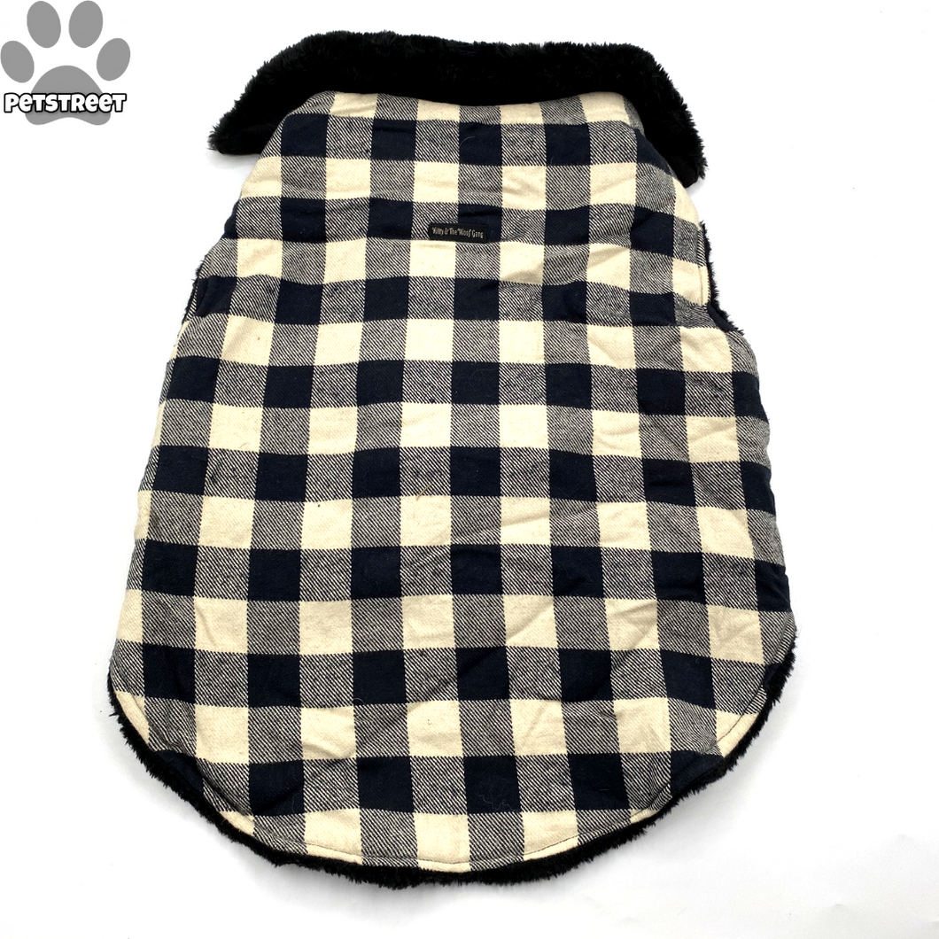 Checkered Furcoat - Black