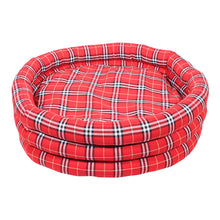 Load image into Gallery viewer, Round Check Dog Bed