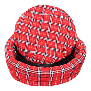 Round Check Dog Bed