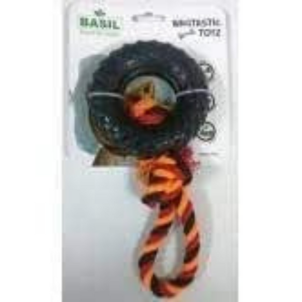 Basil Wagtastic Toyz - Tyre Toy with Rope