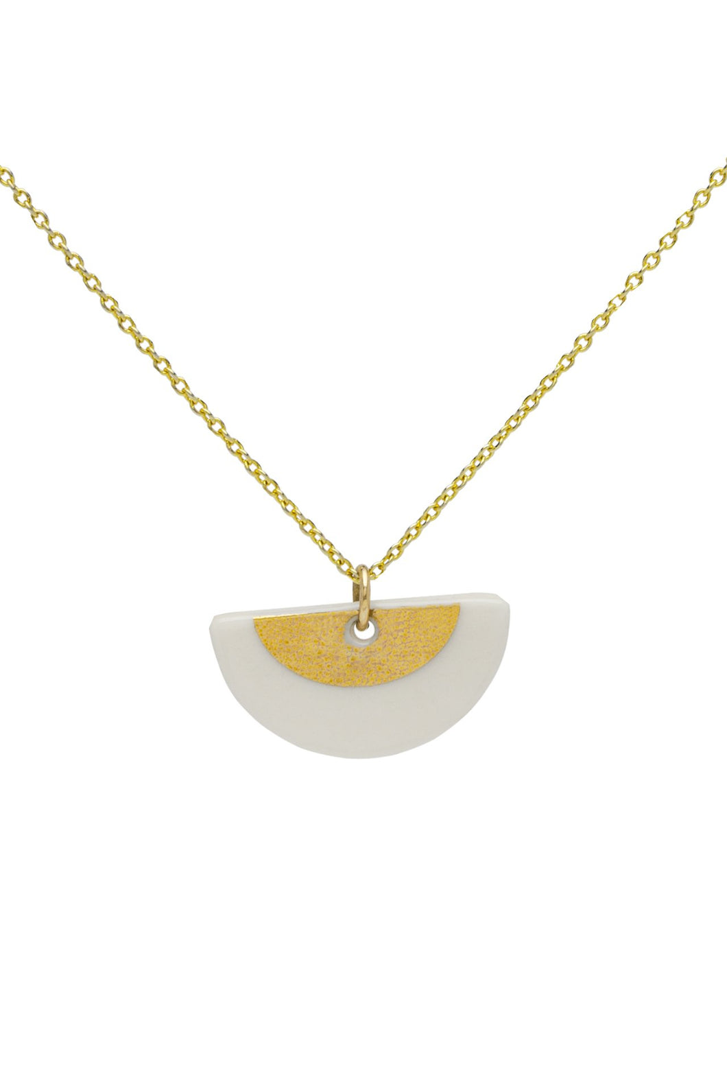 Porcelain gold ora necklace gold vermeil chain