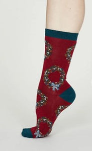 Adella women's Xmas wreath bamboo socks