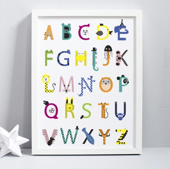Animal alphabet print unframed