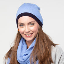 Load image into Gallery viewer, Bette cashmere beanie - teal/mustard