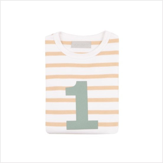No 1 t-shirt - biscuit breton (green number)