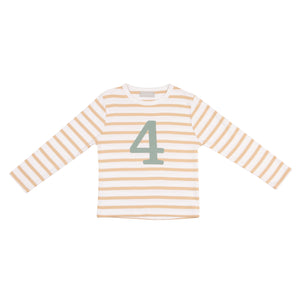 No 4 t-shirt - biscuit breton (green number)