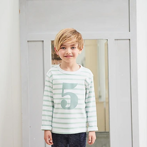 No 1 T-shirt - Seafoam & white breton stripe