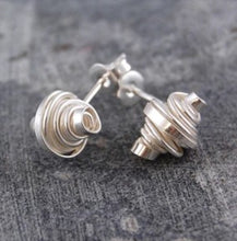 Load image into Gallery viewer, Coiled silver stud earrings