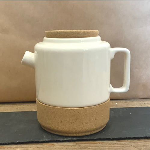 A stylish cream teapot made from pottery and cork would make a stylish gift for any tea lover!