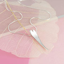 Load image into Gallery viewer, Small curved silver heart pendant necklace