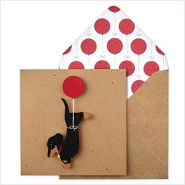 Dachshund balloon birthday 3D card