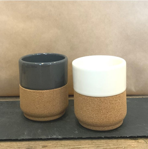 A chic cream mug made from pottery and cork would make a stylish gift for any coffee lover!