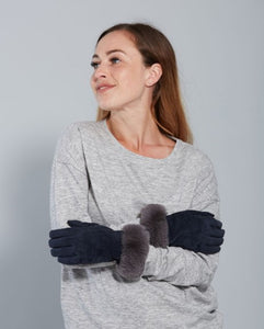 Suede gloves with faux fur trim - fuchsia