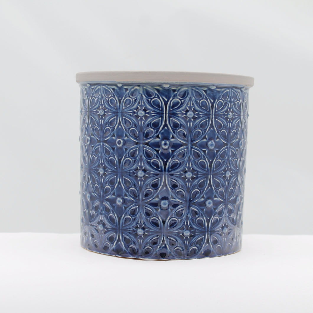 Glazed pot - Porto small dark blue