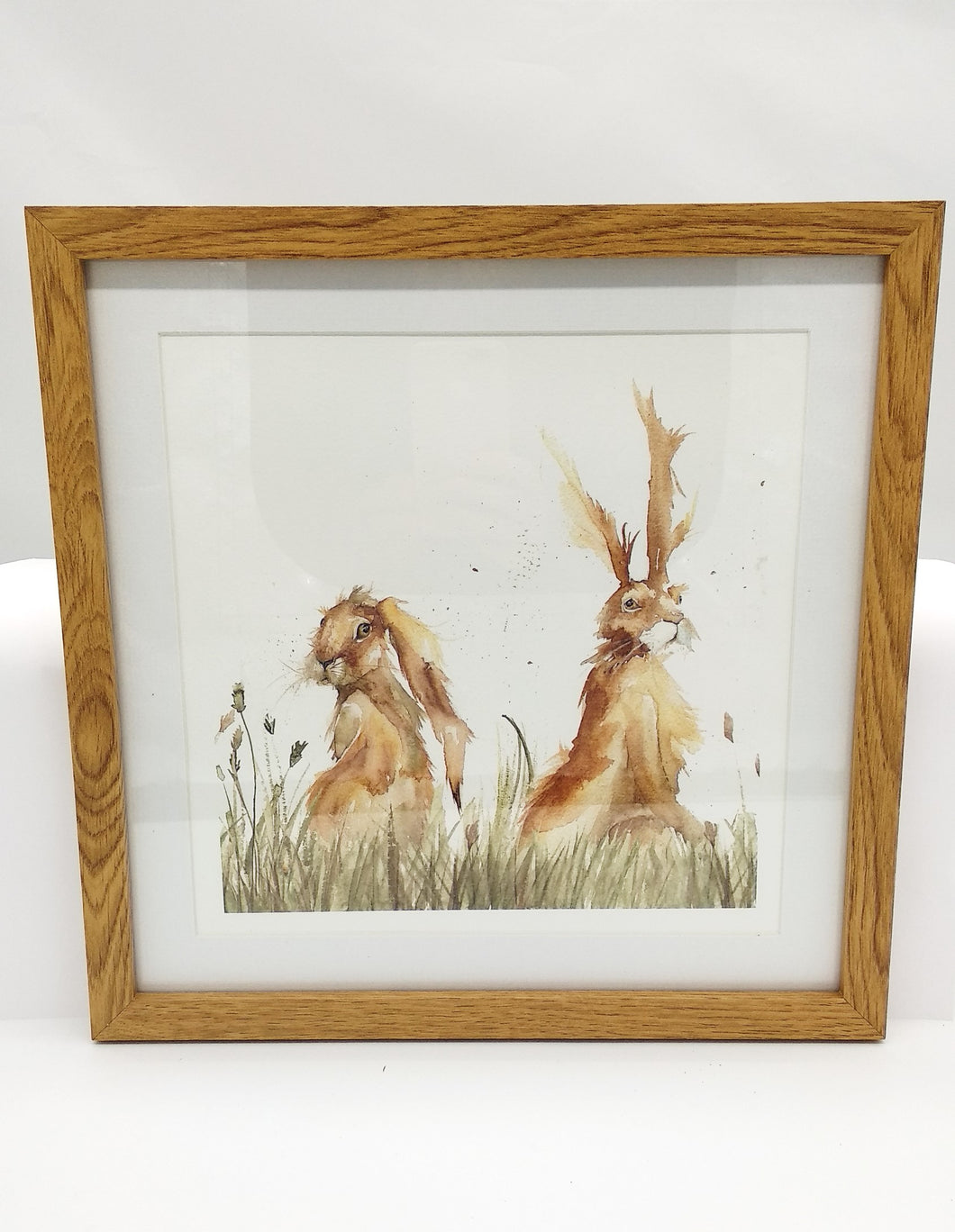 Pair of hares framed print