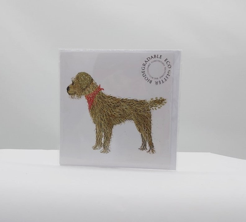 Border terrier red tie card