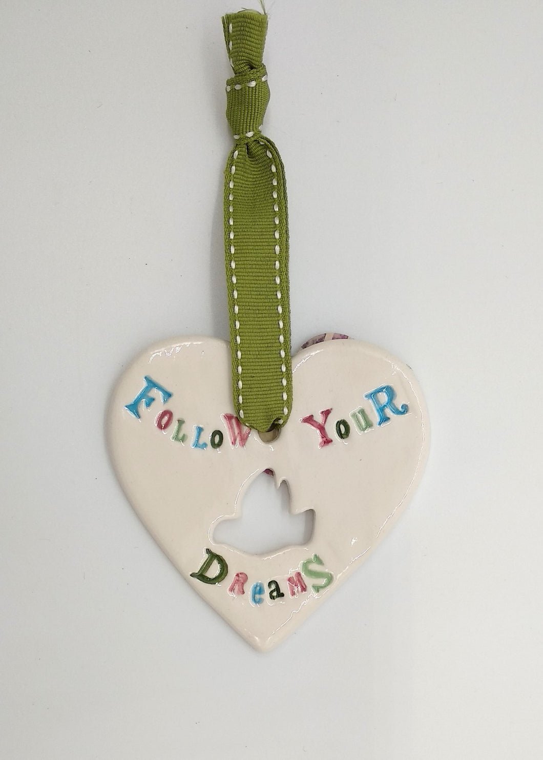 Follow your dreams handmade ceramic hanging heart