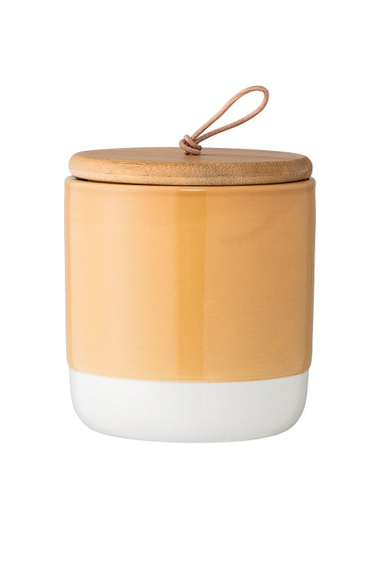 Stoneware jar with lid - mustard