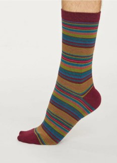 Kennet stripe socks - bilberry red