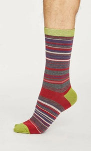 Lauritz stripe socks - pillarbox red