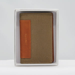 Leather card holder - khaki green