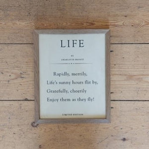 Book page 'Life' quote by Charlotte Bronte framed print