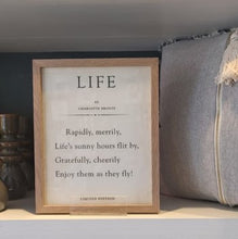 Load image into Gallery viewer, Book page 'Life' quote by Charlotte Bronte framed print