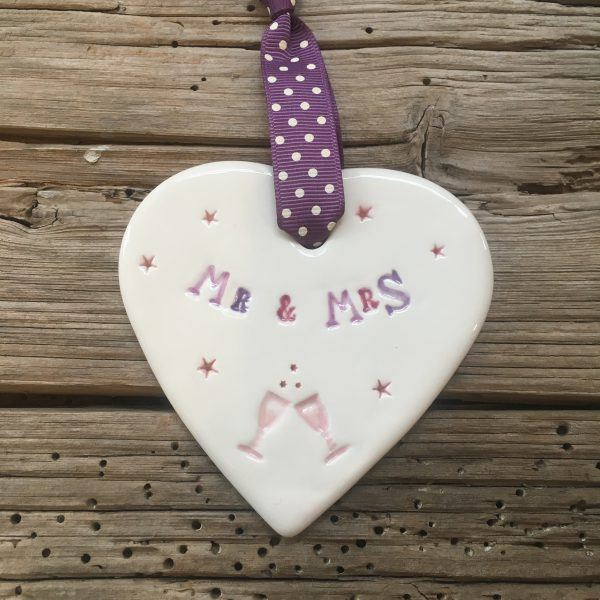 Mr & Mrs handmade ceramic hanging heart