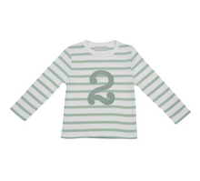 Load image into Gallery viewer, No 2 T-shirt - Seafoam & white breton stripe