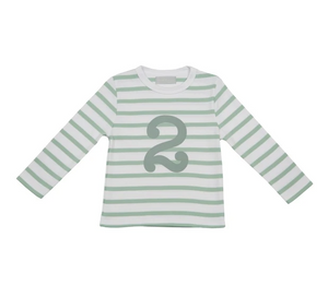 No 2 T-shirt - Seafoam & white breton stripe