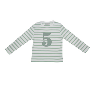 No 5 T-shirt - Seafoam & white breton stripe
