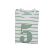 Load image into Gallery viewer, No 5 T-shirt - Seafoam & white breton stripe