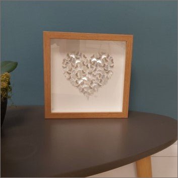 Small print - small silver butterflies in heart - oak frame